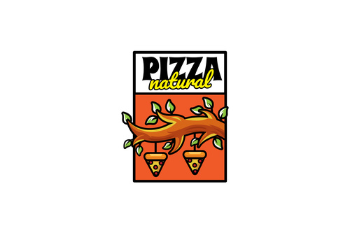 Natural pizza mascot logo vector