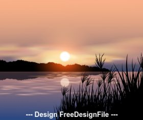 Nature landscape cartoon illustration vector