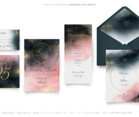 Navy blush gold wedding stationery vector
