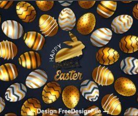 Neatly arranged easter eggs background card vector