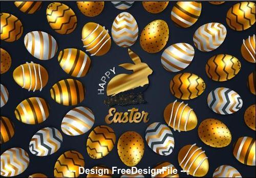Neatly arranged easter eggs background card vector