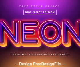 Neon 3d font effect editable text vector