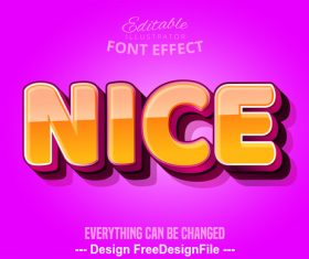 Nice 3d font effect editable text vector
