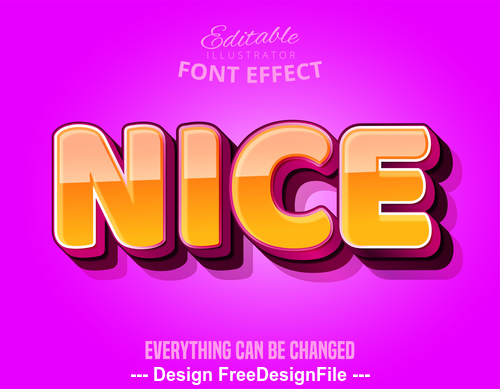 Nice 3d font effect editable text vector