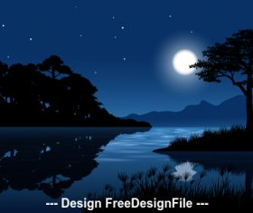 Night full moon landscape cartoon illustration vector