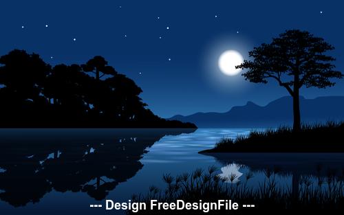Night full moon landscape cartoon illustration vector