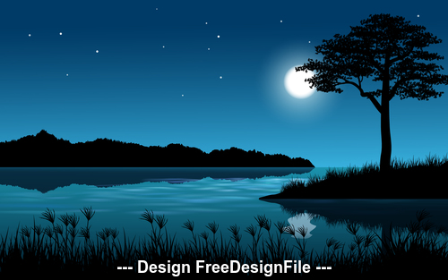 Night landscape cartoon illustration vector