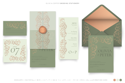 Olive copper wedding stationery vector