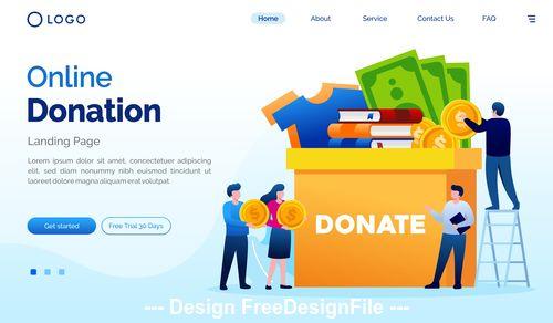 Online donation cartoon illustration vector