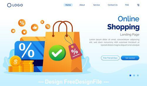 Online shopping cartoon illustration vector