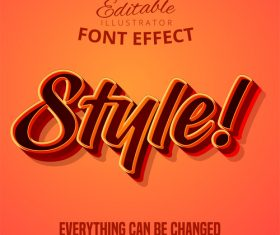 Orange red 3d font text effect vector