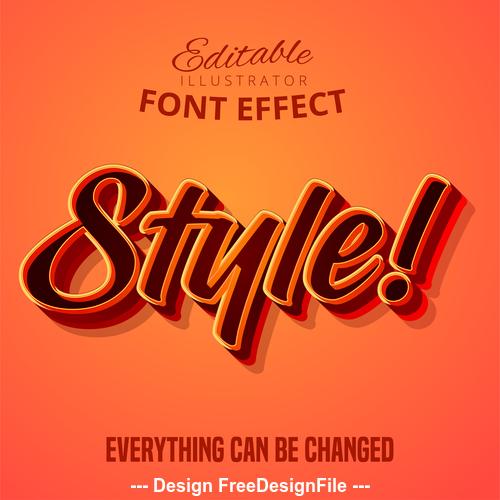 Orange red 3d font text effect vector