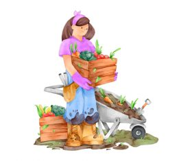 Organic farming concept watercolor illustrations vector