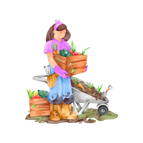 Organic farming concept watercolor illustrations vector