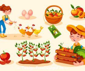 Organic farming food illustration vector
