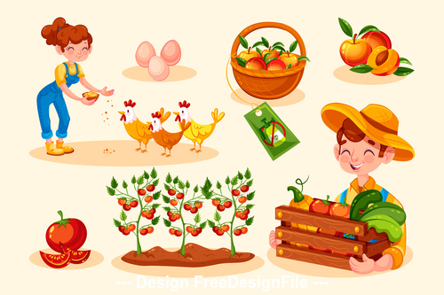 Organic farming food illustration vector
