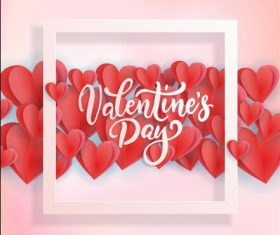 Origami heart and frame background Valentines day card vector