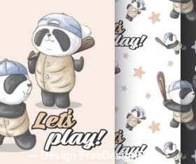 Panda cartoon background vector