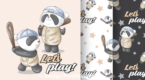 Panda cartoon background vector
