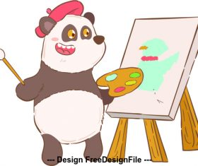 Panda painter cartoon illustration vector