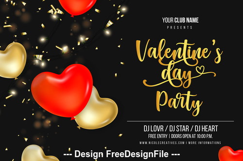 Party valentine day flyer vector