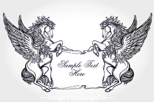 Pegasus hand drawn decorative pattern vector