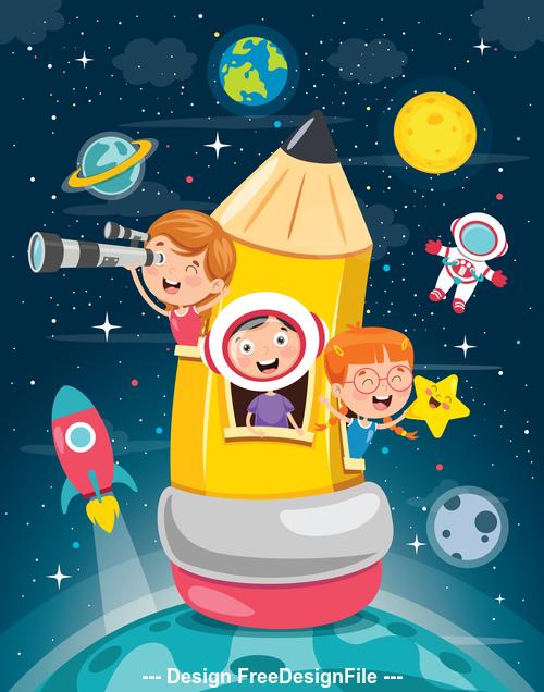 Pencil rocket cartoon vector