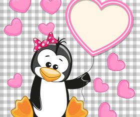 Penguin and heart frame vector