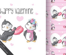 Penguin couple cartoon background vector