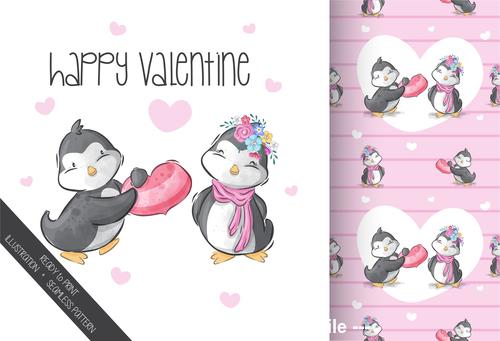 Penguin couple cartoon background vector