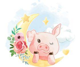 Piggy and moon cartoon illustration vector
