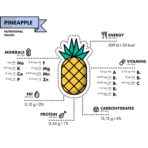 Pineapple nutritional Information vector