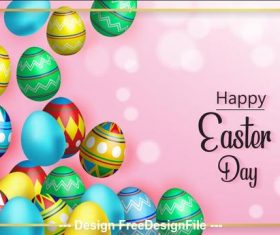 Pink background colorful easter egg card vector