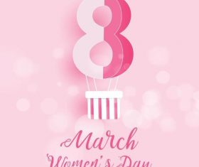 Pink background womens day greeting card vector