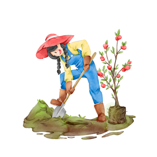 Planting cartoon illustration vector