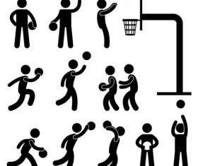 Playing basketball matchstick men vector