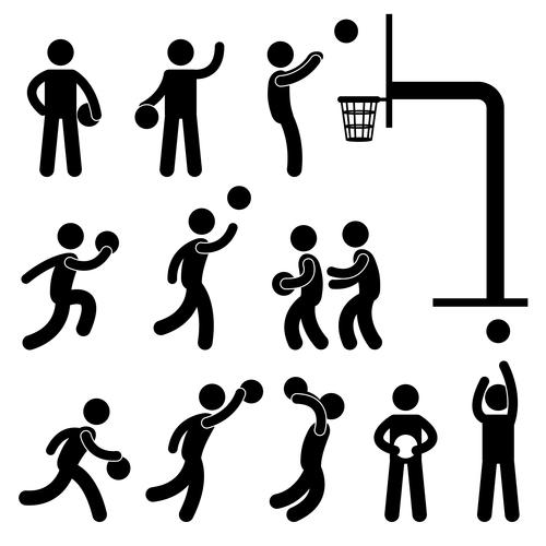 Playing basketball matchstick men vector