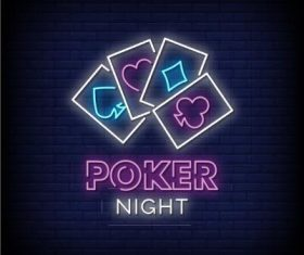 Poker night neon signs style text vector