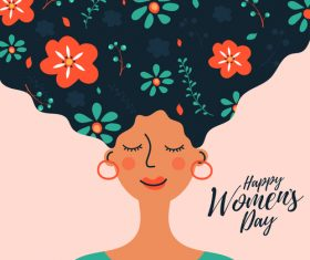 Pretty woman cartoon illustration march 8 womens day vector