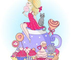 Proud little princess cartoon illustration vector