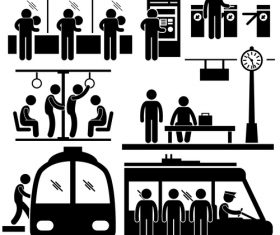 Public transportation matchstick men vector