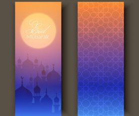Purple gradient color background Eid mubarak banner vector