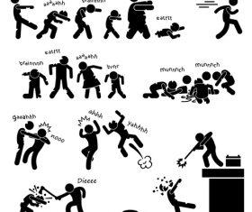 Quarrel matchstick men vector