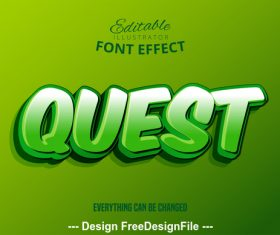 Quest 3d font effect editable text vector