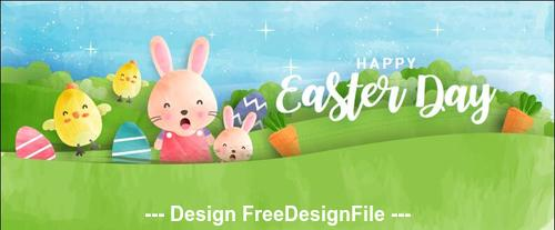 Rabbit and green background easter banner vector