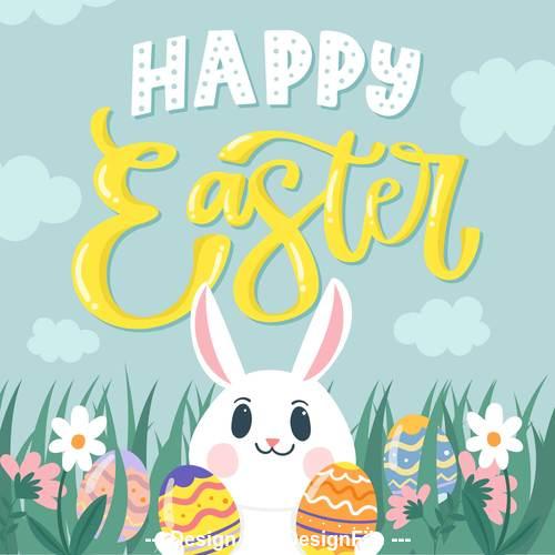 Rabbit card holding egg vector