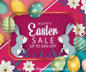 Rabbit easter egg colorful background vector
