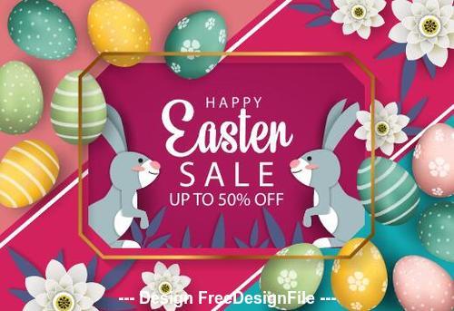 Rabbit easter egg colorful background vector