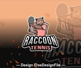 Raccoon tennis sport logo vector