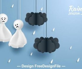 Ragdoll in cartoon rainy season vector